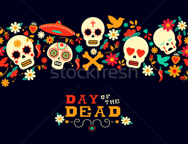 Day of the dead flower sugar skull background Stock photo © cienpies
