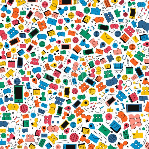 Social media internet icon illustratie kleurrijk stijl Stockfoto © cienpies