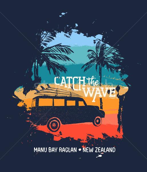 поиск Новая Зеландия пляж автомобилей Летние каникулы Сток-фото © cienpies