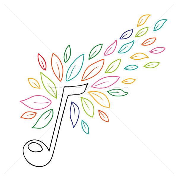 Zene jegyzet skicc természet levelek színes Stock fotó © cienpies