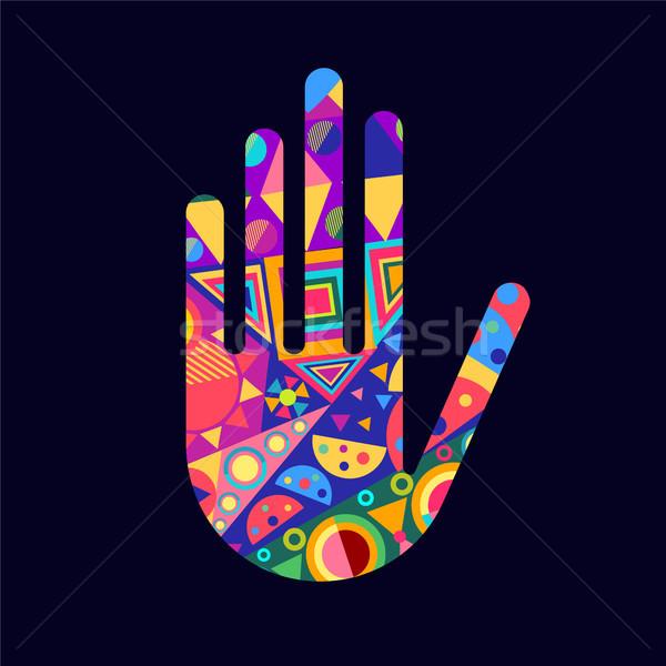 Emberi kéz színes absztrakt dekoráció forma izolált Stock fotó © cienpies