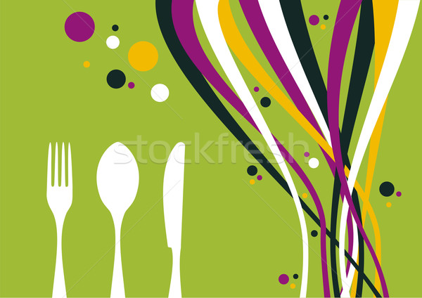 Stock photo: Fork, knife and spoon with multicolored waves background