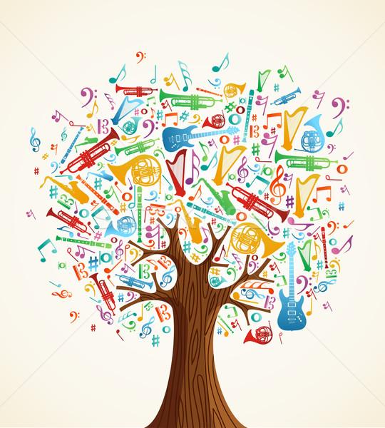 аннотация музыкальный дерево иллюстрация вектора Сток-фото © cienpies