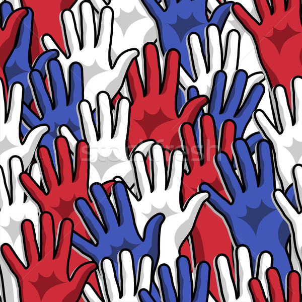 Democracy voting hands up pattern Stock photo © cienpies