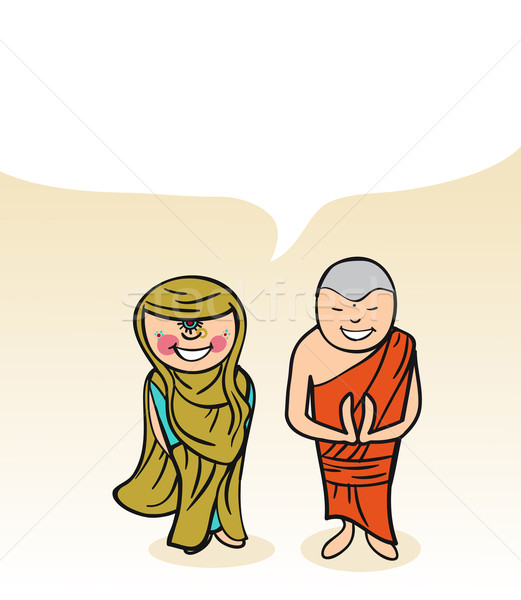 Indian cartoon couple bubble dialogue Stock photo © cienpies