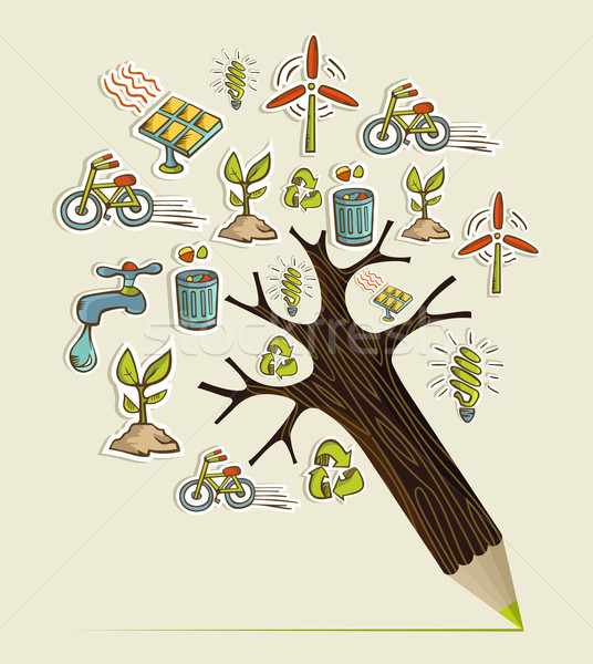 Grünen Bleistift Baum Umwelt Erhaltung Symbole Stock foto © cienpies