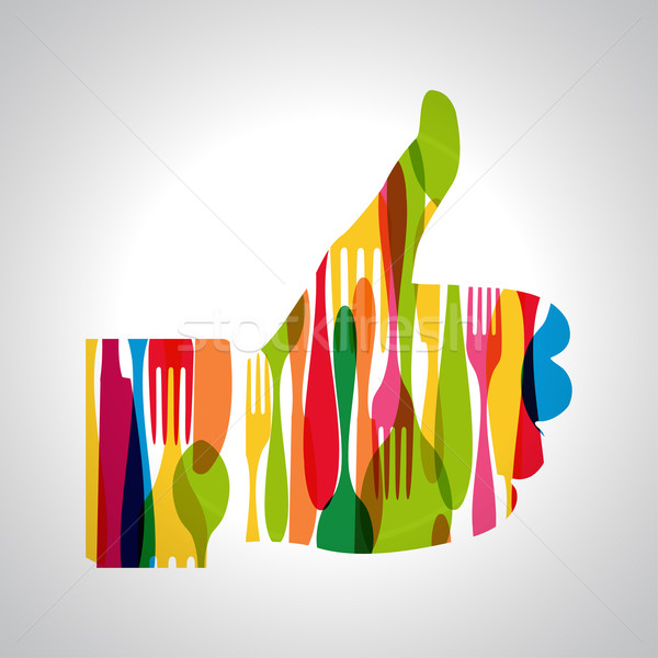 Multicolor cutlery thumb up Stock photo © cienpies