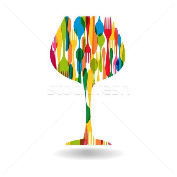 カトラリー ワイングラス 実例 カラフル ストックフォト © cienpies