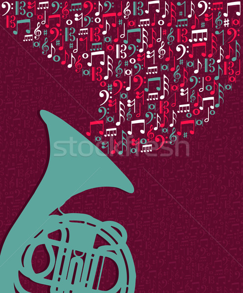 Music notes splash Tuba illustration Stock photo © cienpies