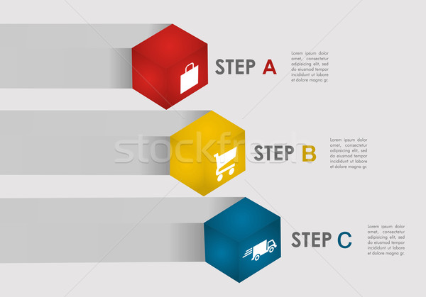 E commerce steps info graphics Stock photo © cienpies