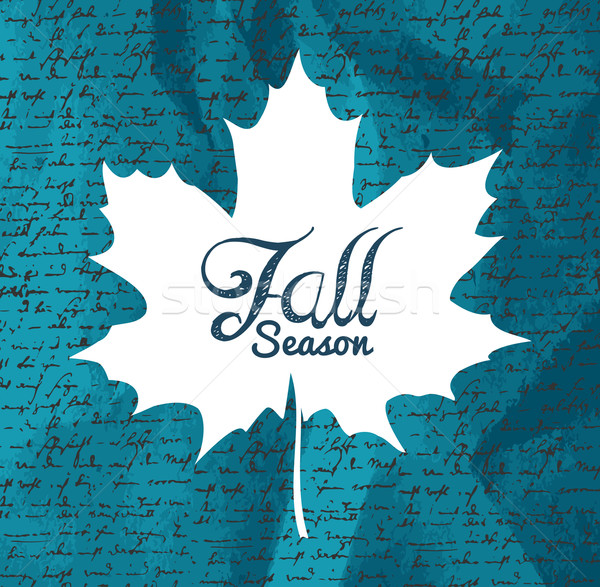 """""""Fall season"""" text Autumn leaf with writings background EPS1 Stock photo © cienpies"""