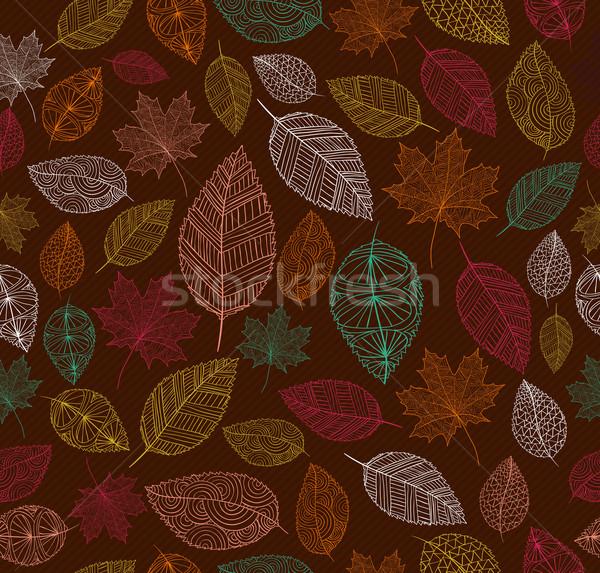 Stock fotó: Klasszikus · őszi · levelek · végtelen · minta · eps10 · akta · kézzel · rajzolt
