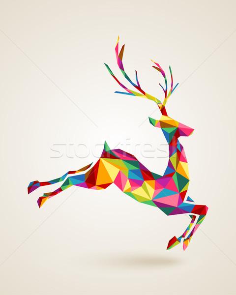 Karácsony szarvas szívárványszínű illusztráció vidám színes Stock fotó © cienpies