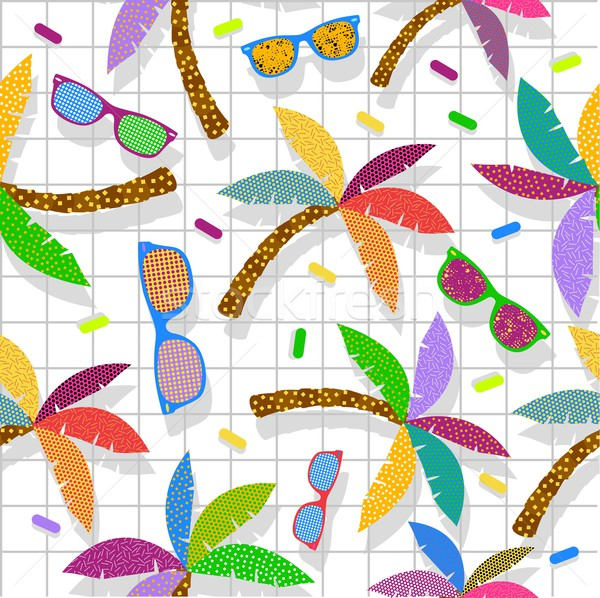 Retro vintage hipster summer 80s pattern backdrop Stock photo © cienpies
