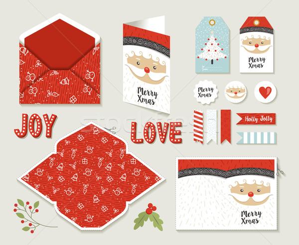 Merry christmas set printable greeting card cute Stock photo © cienpies