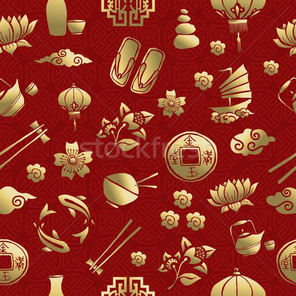 Stock fotó: Arany · Ázsia · kultúra · ikon · végtelen · minta · kínai
