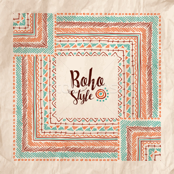 Boho fashion style poster on vintage paper texture Stock photo © cienpies