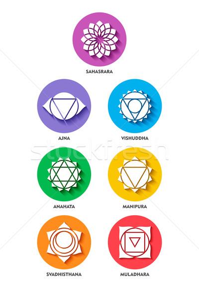 Chakra icon kleur ingesteld stijl geïsoleerd Stockfoto © cienpies