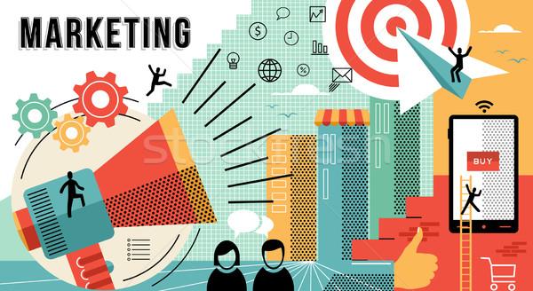 Marketing on-line projeto moderno negócio Foto stock © cienpies