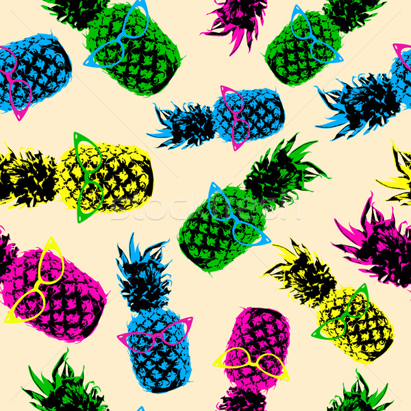 Retro hipster summer pattern with color pineapple Stock photo © cienpies