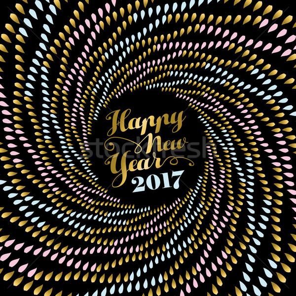 Stock photo: New Year 2017 gold mandala art for card design
