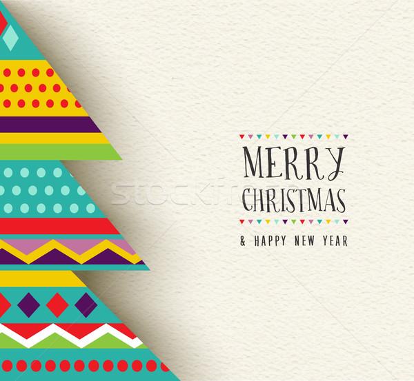 Allegro Natale capodanno divertimento albero design Foto d'archivio © cienpies