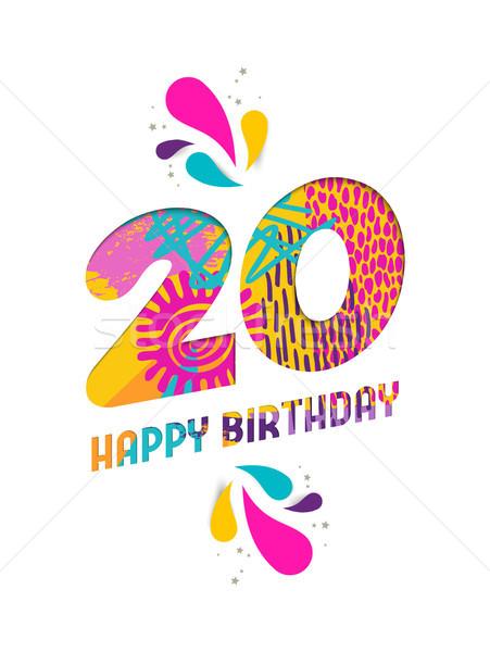 Urodziny 20 rok papieru cięcia kartkę z życzeniami Zdjęcia stock © cienpies