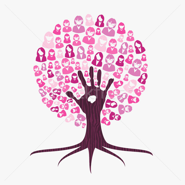 Breast cancer awareness month pink help hand tree Stock photo © cienpies
