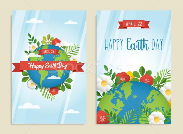 Boldog föld napja üdvözlőlap szett zöld bolygó Stock fotó © cienpies