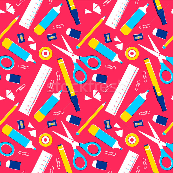 School supplies icon set seamless pattern design Stock photo © cienpies