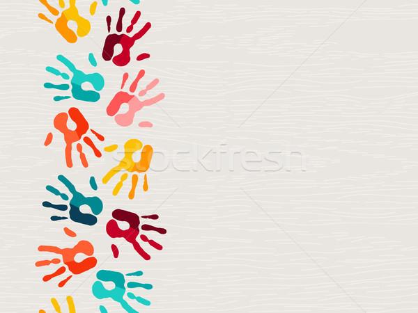 Farbe menschlichen Hand drucken Illustration kid Bildung Stock foto © cienpies