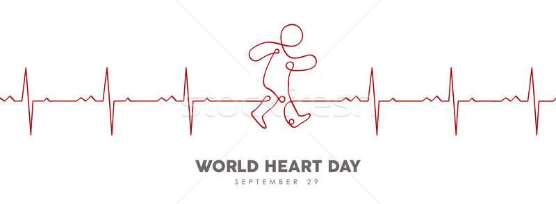Világ szív nap szívdobbanás szalag egészségügy Stock fotó © cienpies
