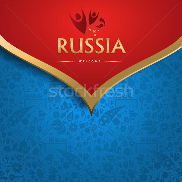 Karşılama Rusya futbol olay geleneksel şablon Stok fotoğraf © cienpies