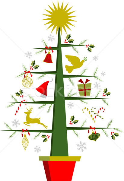 Christmas tree with symbols and decorations Stock photo © cienpies