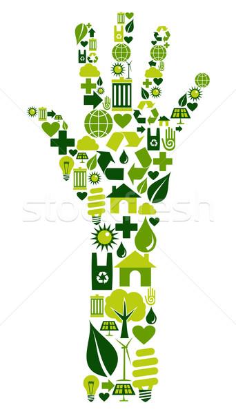Human hand with environmental icons Stock photo © cienpies