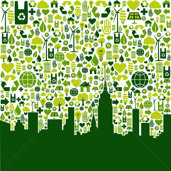 Green city eco icons background Stock photo © cienpies