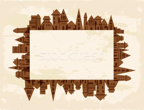 Grunge város keret hegyorom vektor akta Stock fotó © cienpies