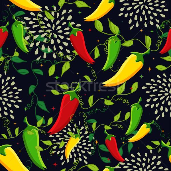 Foto stock: Mexicano · chile · comida · mexicana · ilustración · colorido