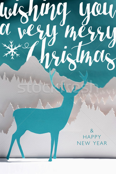 Merry christmas new year 2016 paper craft art card Stock photo © cienpies