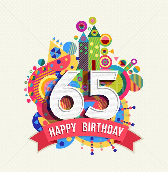 Сток-фото: С · Днем · Рождения · год · плакат · цвета · шестьдесят