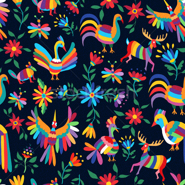 Colorful spring pattern of wild animal and flower Stock photo © cienpies