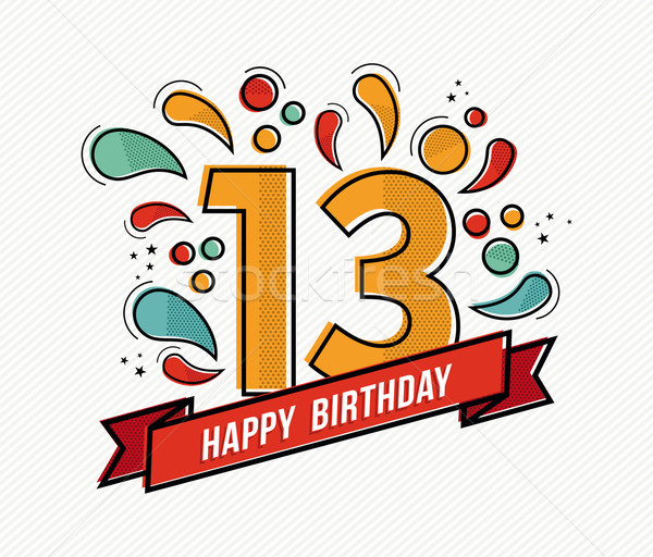 Colorful happy birthday number 13 flat line design Stock photo © cienpies