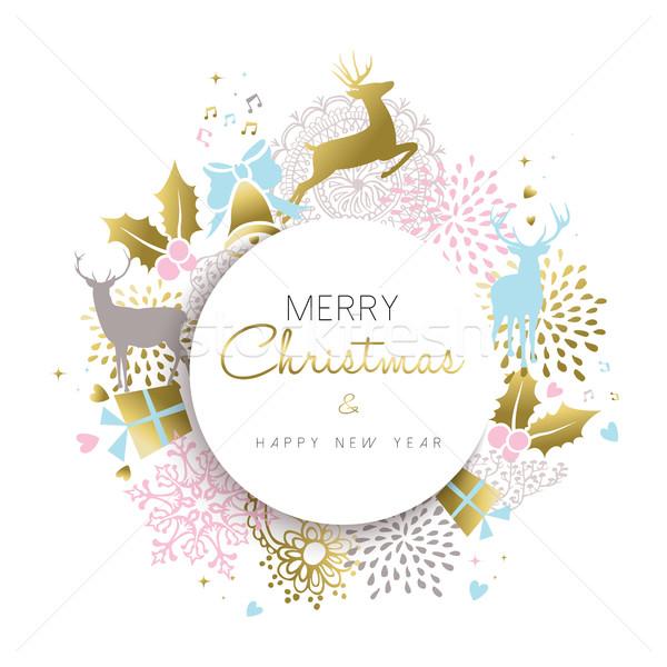 Karácsony új év arany szarvas dekoráció terv Stock fotó © cienpies