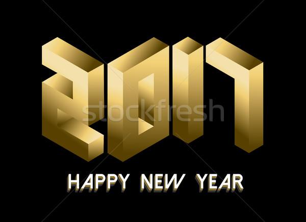 黃金 新年 等距 風格 設計 新年好 商業照片 © cienpies