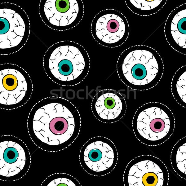 Human eyeball hand drawn stitch patch pattern Stock photo © cienpies