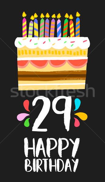 Feliz cumpleaños tarjeta veinte nueve año torta Foto stock © cienpies