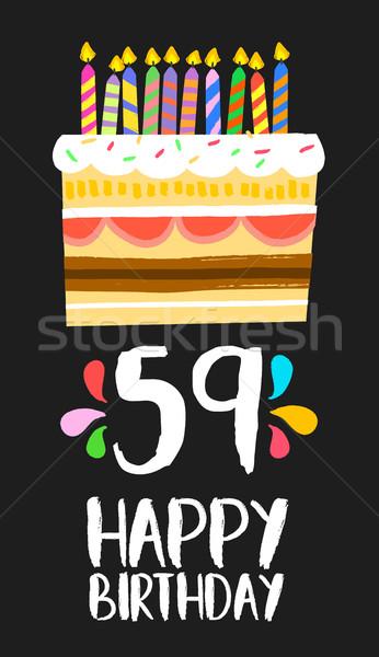 Feliz aniversário cartão cinqüenta nove ano bolo Foto stock © cienpies