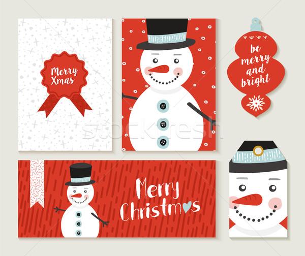 Neşeli Noel kardan adam kart etiket ayarlamak Stok fotoğraf © cienpies
