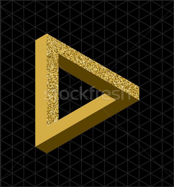Abstract goud schitteren onmogelijk driehoek vorm Stockfoto © cienpies