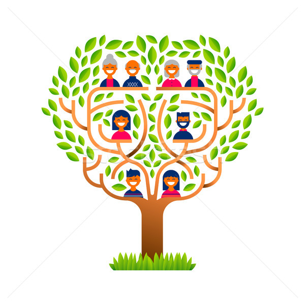 Big family tree with happy people icons Stock photo © cienpies